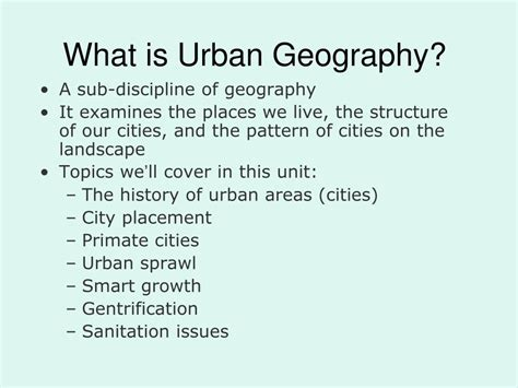 PPT - What is Urban Geography? PowerPoint Presentation
