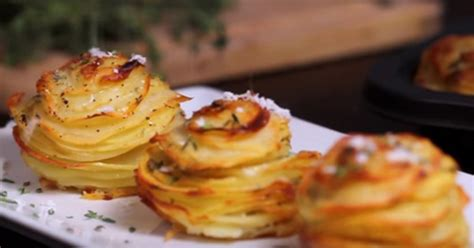 Slice potatoes and bake stacked in a muffin tin - looks