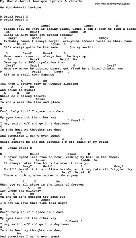 Love Song Lyrics for:My World-Avril Lavigne with chords