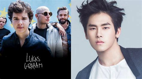 Lukas Graham gives a big thumbs up to INFINITE's Hoya's