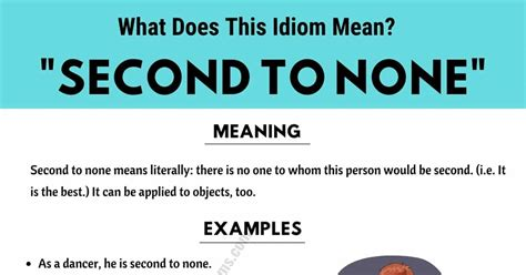 Second To None: What Does This Useful Idiom Mean? - ESL Forums